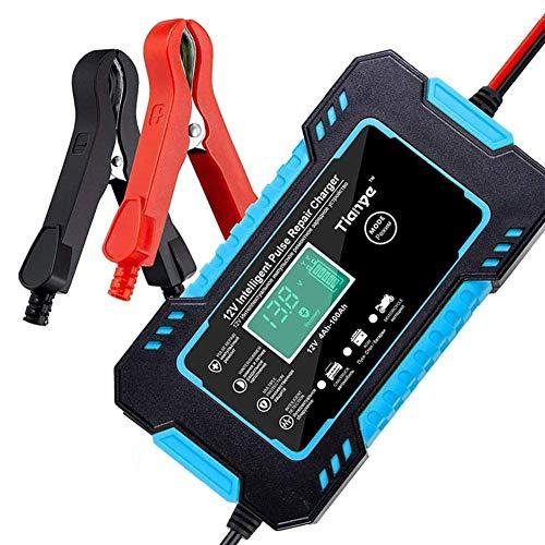 Yangyang Cargador de Baterías Coche,12V/24V Coche Moto Cargador Rápido Automático Protección con Pantalla LCD Mantener y Reparar baterías para Varios vehículos
