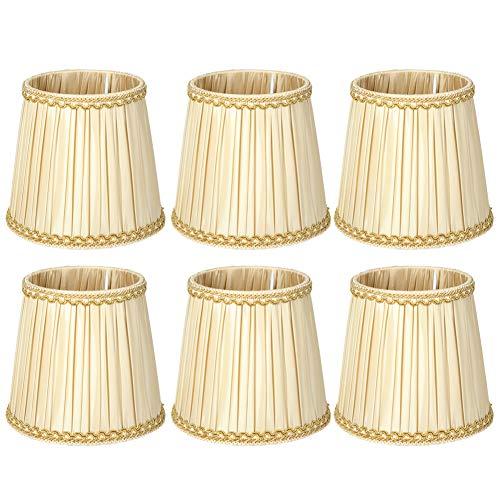 6Pcs Stoff Kronleuchter Wandlampenschirme Lichtabdeckung, Stoff Lampenschirm für E14 Glühbirnen Lampenschirm Ersatz