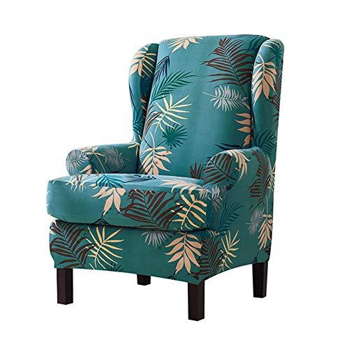 KENANLAN 2 Stück Ohrensesselbezug Sofa Schonbezüge mit Sesselbezügen abnehmbare Elegante Muster Blätter für Möbel Beschützer Heimtextilien, Grün