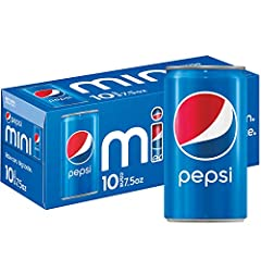10 count of Pepsi 7.5 ounce sleek, mini cans—little cans, epic satisfaction The bold, refreshing cola born in New Bern, NC in 1898 and still bottled in the USA Perfect for parties, meals, and celebrations big and small Great for portion control - eac...