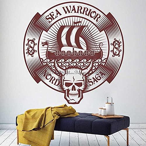 BBZZL Etiqueta engomada de la Pared del Acorazado Vikingo Aventura Pirata Etiqueta de Vinilo de Estilo nórdico Regalo de decoración del hogar L 58x57cm