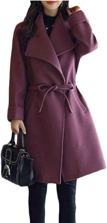 LEISHOP Women's Winter Trench Coat Wool Woolen Pea Coat Drawstring Overcoat