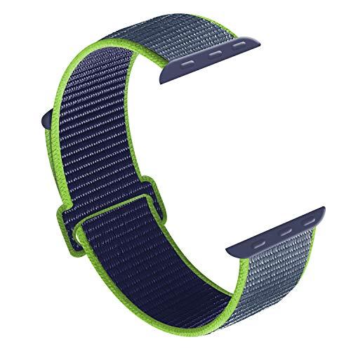 CosyZanx Kompatibel mit Apple Watch Armband 38mm 40mm 42mm 44mm,Gewobenes Nylon Sport Schlaufe Handgelenk Uhrband Ersatz Armreif Uhrenarmband für iWatch Apple Watch Series 4 3 2 1 (42/44MM, Lime)