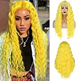 RDY Lemon Yellow Lace Front Wigs Long Loose Curly Wigs for Women with Natural Hairline Middle Part Synthetic Pre Plucked Daily Wear Halloween Cosplay Wig 24 Inches