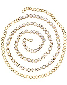 Karatcart Traditional 22K Gold Plated Kundan Kamarband for Women