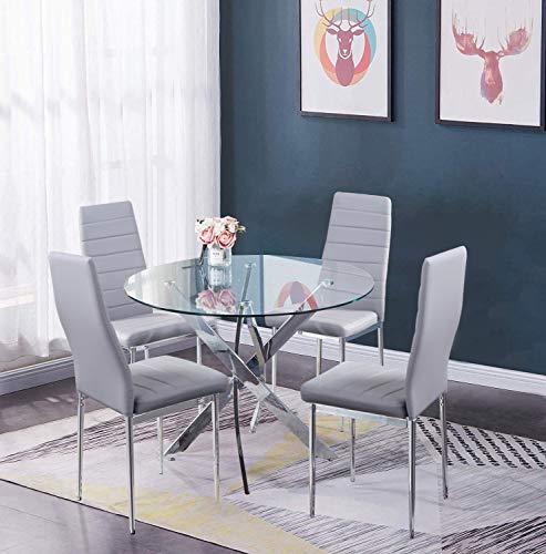 GOLDFAN Essgruppe mit Glas Runder Esstisch und 4 Grau Stühle Küchentisch für Wohnzimmer Küche Büro