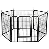 Yaheetech Heavy Duty 6 Panel Dog Playpen Pet Exercise Pen Cat Rabbit Fence Indoor/Outdoor Enclosure Run Cage 80cm X 80cm