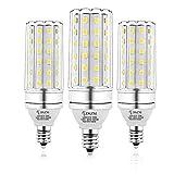 E12 LED Bulbs, 12W LED Candelabra Bulb 100 Watt Equivalent, 1200lm, Decorative Candelabra Base E12 Corn Non-Dimmable LED Chandelier Bulbs, Daylight White 5000K LED Lamp, Pack of 3