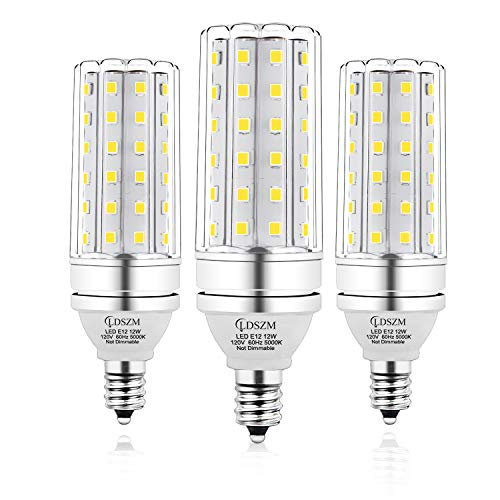 E12 LED Bulbs, 12W LED Candelabra Bulb 100 Watt Equivalent, 1200lm, Decorative Candelabra Base E12 Corn Non-Dimmable LED Chandelier Bulbs, Daylight White 5000K LED Lamp, Pack of 3
