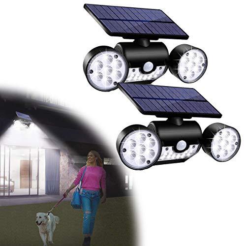 HIMNA PETTR Focos LED Exterior Giratorio, Luz Solar Impermeable Brillante con Sensor De Movimiento E Interruptor Inteligente para Jardín Garaje Piscina, ABS + PC (2 Piezas)