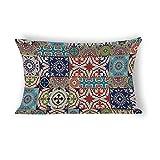 Yilooom Moroccan Tiles Traditiona Rectangle Decorative Cotton Linen Throw Pillow Case Cushion Cover Lumbar Pillowcase for Couch Sofa Bed 14 X 24 Inches