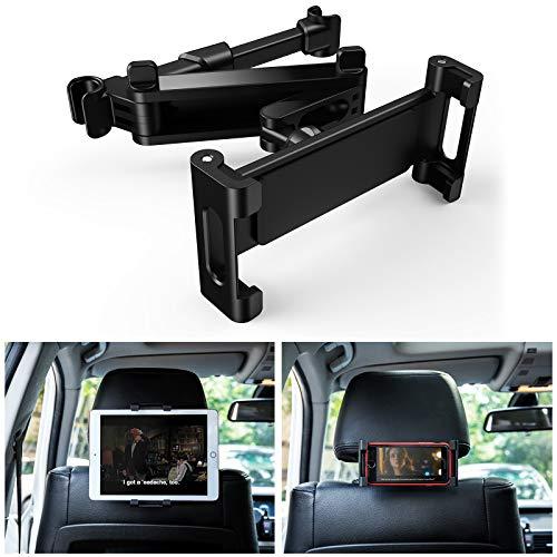 UIHOL Supporto Tablet Auto, Supporto Poggiatesta per Auto Universale Porta Tablet Regolabili Dimensioni Diverse Rotazione a 360 Gradi Compatibile con 6-12 Pollici iPad Mini Tab e Smartphone