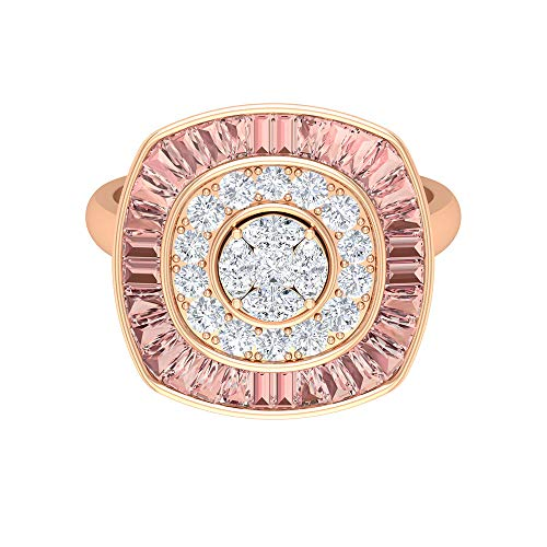 Lab Created Morganit Ring, 3/4 CT Diamant Cluster Ring, Halo-Ehering, Statement Party Wear Ring, Gold Antik Ring (AAAA Qualität), 14K Roségold, Size:EU 58