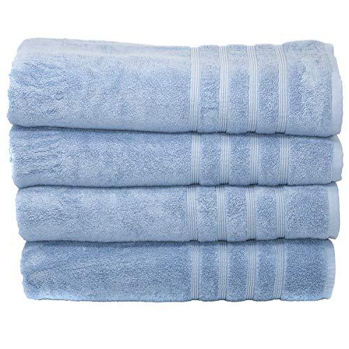 Mosobam 700 GSM Hotel Luxury Bamboo-Cotton, Bath Towel Sheets 35X70, Blue, Set of 4, Quick Dry, Soft Spa-Like Turkish Bathroom Sets, Oversized Extra Large Body Sheet Towels, Prime Bulk