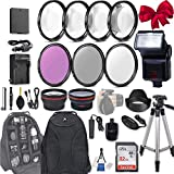 58mm 28 Pc Accessory Kit for Canon EOS Rebel T6, T5, T3, 1300D, 1200D, 1100D DSLRs with 0.43x Wide Angle Lens, 2.2X Telephoto Lens, Flash, 32GB SD, Filter & Macro Kits, Backpack Case, and More