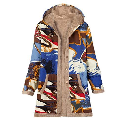 Male god Abrigo para mujer, estilo retro, suelto, con capucha, estampado floral, forro polar, cálido, para invierno, para exterior, abrigo largo y chaqueta para mujer (color: B, talla: XXL)