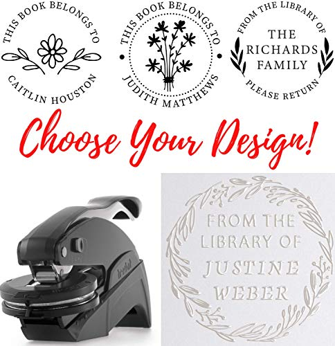 Library Book Embosser Personalized Stamp Custom - Mothers Day Gift - Graduation Book Embosser from The Library of Embosser, Book Lover Gift Custom Embosser Stamp, Book Embosser (Library Embosser)