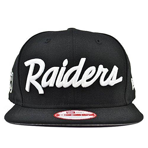 becc1ad2c New Era Los Angeles Raiders 9Fifty Black and White Vintage Script NWA  Adjustable Snapback Hat NFL