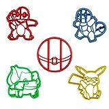 Formine Per Biscotti Pokemon Dal Dettaglio Unico Stampato in 3D - Stampini Tagliapasta SET Da 5 - Pikachu Charmander Squirtle Bulbasaur Poke Ball