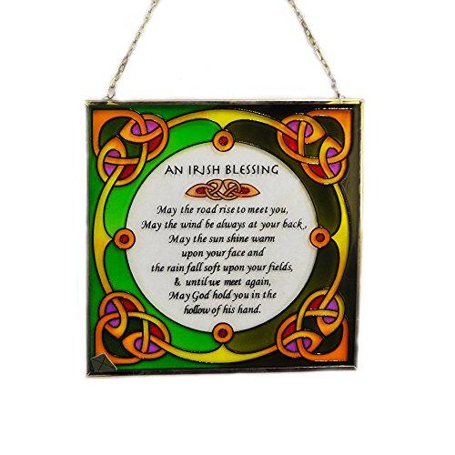 """6,5"""" Buntglas Wandtafel mit Irischer Segnung zum Aufhängen"""