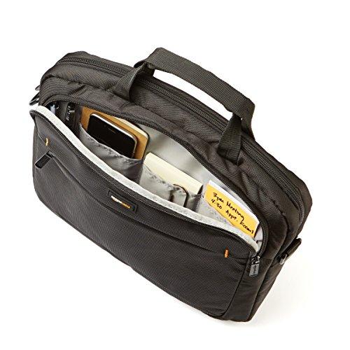 AmazonBasics Laptop-, Macbook- und Tablet-Schultertasche, für Laptops bis zu 14 Zoll (35,6 cm), Schwarz, 1 Stück - 2
