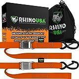 Rhino USA Cambuckle Motorcycle Tie Down Straps (Orange 2-Pack)