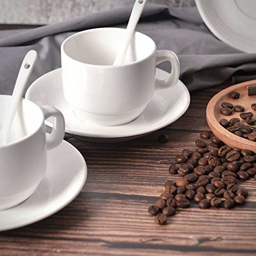 12-Piece Espresso Cups with Saucers and Spoons, 6oz Demitasse Cups, Fine White Porcelain, Stackable Espresso Coffee Mug Sets- for Specialty Coffee Drinks, Latte, Cafe Mocha and Tea-Set of 4