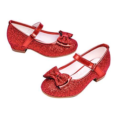 Stelle Girls Mary Jane Glitter Shoes Low Heel Princess Flower Wedding Party Dress Pump Shoes for Kids Toddler(T08-Red, 13ML)