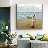 wZUN Amantes Caminando en la Playa Pintura al óleo sobre Lienzo Arte de la Pared decoración del hogar 60x60 Sin Marco