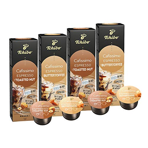 Probierset Tchibo Cafissimo Flavoured Edition Espresso Toasted Nut und Espresso Buttertoffee, 40 Stück (2 x 20 Kapseln)