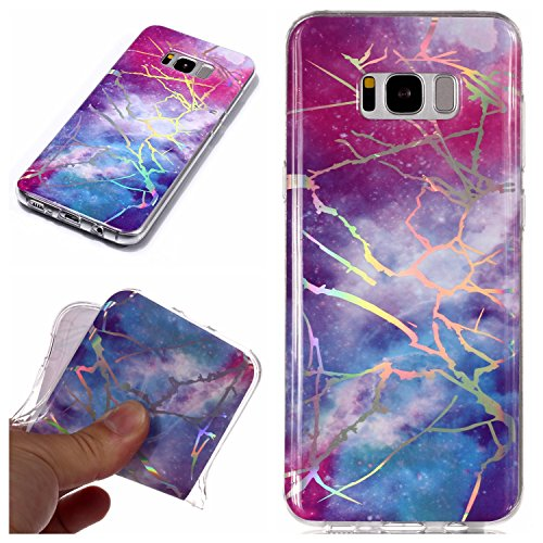 for Samsung Galaxy S8 Plus Glitter Case Marble and Screen Protector,Clear Soft Silicone Case Ultra Thin Slim Fit Gel TPU Bumper Shell,QFFUN Shockproof Anti-Scratch Protective Back Cover - Red and Blue