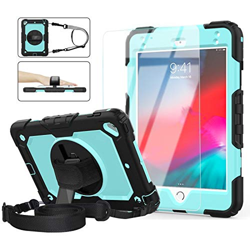 Pad Mini 5/4 Case for Kids, iPad Mini 5th/4th Case 7.9'', [Shockproof] ambison Full Body Protective Case with 9H Tempered Glass, Rotatable Kickstand & Hand Strap, Shoulder Strap (Sky Blue & Black)