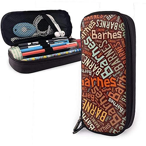Barnes - Apellido americano Estuche de cuero de alta capacidad Estuche de lápices Estuche de papelería Organizador Porta bolígrafos Bolso de cosméticos portátil