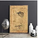 YQQICC Cochlear Implant Patent Print Ear Anatomy Poster Inner Ear Diagram Audiologist Art ENT Doctor Gift Hearing Aid Decor -40x60cm unframed