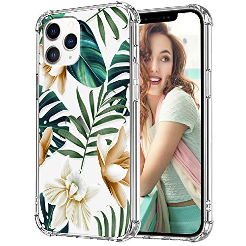 VePret Compatible with iPhone 12 Pro Max Case for Women Girls, Clear Floral Flower Cute Design Hybrid Protective Shockproof Phone Case for iPhone 12 Pro Max 6.7,Green/Palm Tree
