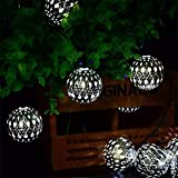 Bola de la cadena de metal luces solares Marruecos cadena luces 3.5M 12LED bola de metal cadena luces de interior al aire libre de hadas Globe cadena luces for jardín Patio de Navidad (blanco frío) gg