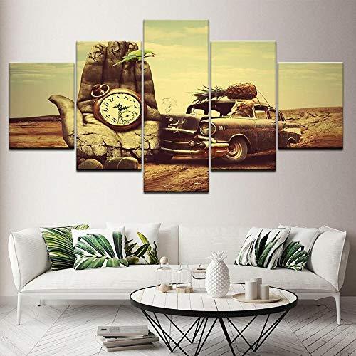 VYQDTNR XXL Arte de Pared Pinturas en Lienzo Impresiones HD Sala de Estar Decoración del hogar imágenes 5 Piezas Reloj de Bolsillo Carteles