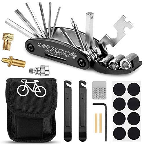 Yomiin Fahrrad Multitool, Fahrrad Werkzeug Tool 16 in 1 Multifunktions Fahrrad Werkzeug Reparaturset und Fahrradventil Adapter für Fahrrad Reparatur, Werkzeugset Fahrrad mit Tasche,Reifenheber usw