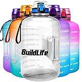 BuildLife 3,78 l/2,2 l Wide Mouth Gym Wasserflasche mit Trinkzeiten Große BPA-freie Kapazität für Fitnessziele und Outdoor, durchsichtig, 2.2L