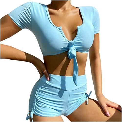 Damen-Bikini-Oberteil mit kurzen Ärmeln, hohe Taille, hoher Schnitt, Zweiteiliger Badeanzug Farbstoff binden Spitze Shorts Badeanzug Zweiteilig Konservativ Bikini