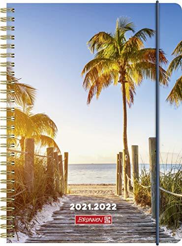 "BRUNNEN 1072155182 Schülerkalender 2021/2022 (18 Monate) ""Palm Beach"" 2 Seiten = 1 Woche, Blattgröße 14,8 x 21 cm, A5, PP-Einband"