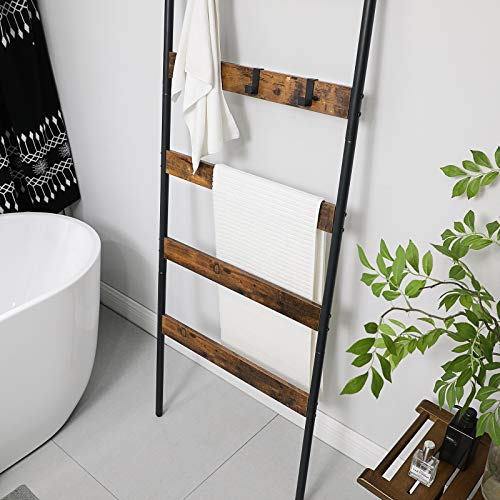 VASAGLE Blanket Ladder Shelf, Wall-Leaning Rack, 5-Tier Closet Quilt Stands, with 4 Hooks, Rustic Brown ULLS011B01