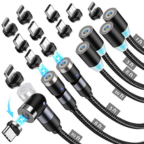 Ficabil Magnetic Charging Cable 7-Pack, Nylon Braided 3 in 1 Magnetic Charger with Led Light, Compatible with Micro USB, Type C and iProduct (Black, 1ft+3ft+3ft+6ft+6ft+10ft+10ft)