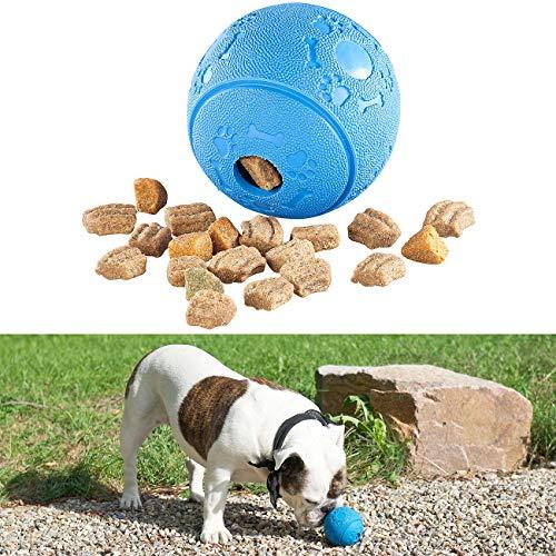 Sweetypet Hundespielzeug: Hunde-Spielball aus Naturkautschuk, mit Snack-Ausgabe, Ø 8 cm, blau (Futterball)