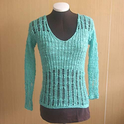 Leichter, luftiger Sommer-Pullover in türkis, Gr. 32/34