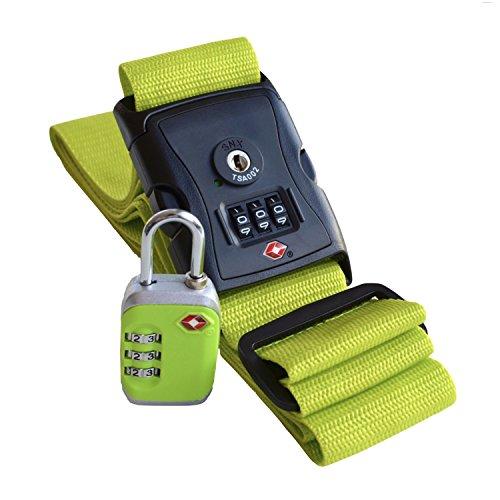 % OFFERTA LAMPO % Cinghia & Lucchetto per Valigia (Set da 2): verde, TSA - Tracolla di sicurezza con lucchetto a combinazione in metallo - Compatibile per tutti le valigie - Ideale per viaggi in USA