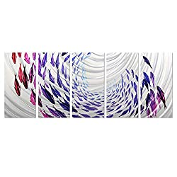 Migration of Fish Metal Wall Art - Multicolored Sea Sculpture Comes 5 Panels of 64 x 24 - Beautiful Wall Hangings Perfect as Indoor or Outdoor Decorations