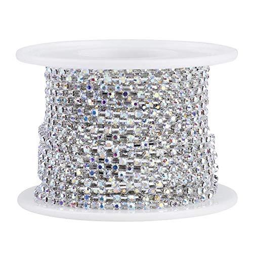 Strassband Kristall Strass Schließen Kette Trimmen Klaue Kette Schmuck Handwerk für DIY Dekoration(ss16 Silber)