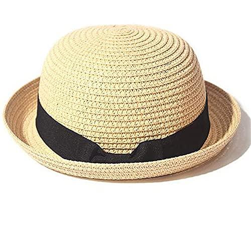 Sombrero Simple de Verano, Sombrero de Playa para Mujer, Informal, para Mujer, de ala Plana, con Lazo, Gorra de Paja para niñas, Sombrero para el Sol, Chapeu Feminino-Beige 2-56-58cm