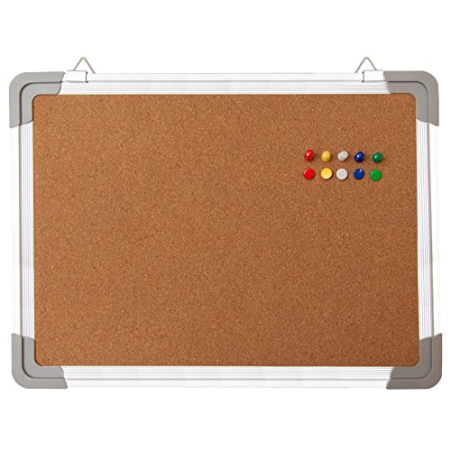 """Cork Board Set - Bulletin Corkboard 16 x 12 inch Framed with 10 Thumb Tacks - Small Wall Hanging Message Memo Pin Tackboard Organizer for Home, Office, Desk and Cubicle (Cork 16x12"""")"""